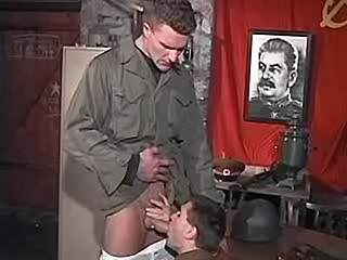 Russian police oficers jizz after sweaty anal fuck