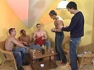 Amateur twink screwed in awesome interracial orgy